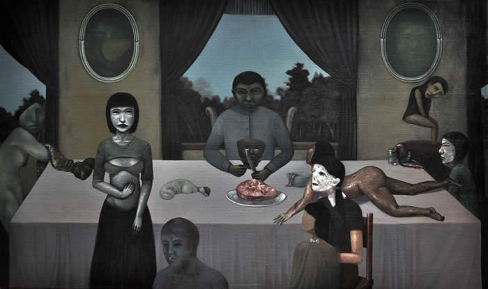 Gan Tee Sheng - Head of Family (2011) | Oil on canvas; 120cm x 200cm