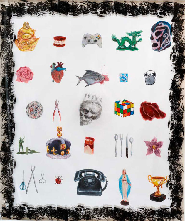 Justin Lim - Trophies (2011) | Acrylic and graphite on paper & screen print on perspex; 195cm x 165cm