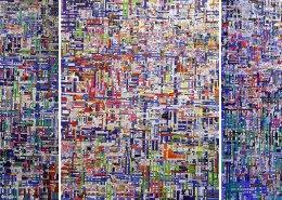 Choy Chun Wei - City, Machine & Industry (2012) | Mixed media on canvas; 172cm x 411cm (Triptych)