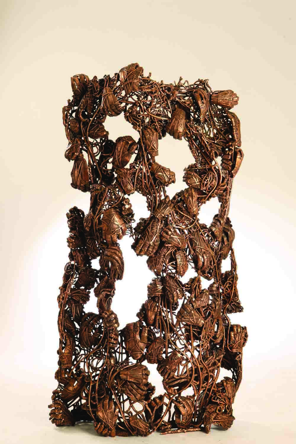 Amin Gulgee - Ripping the Bird's Nest IV (2014) | Copper; 155 x 84 x 30.5cm