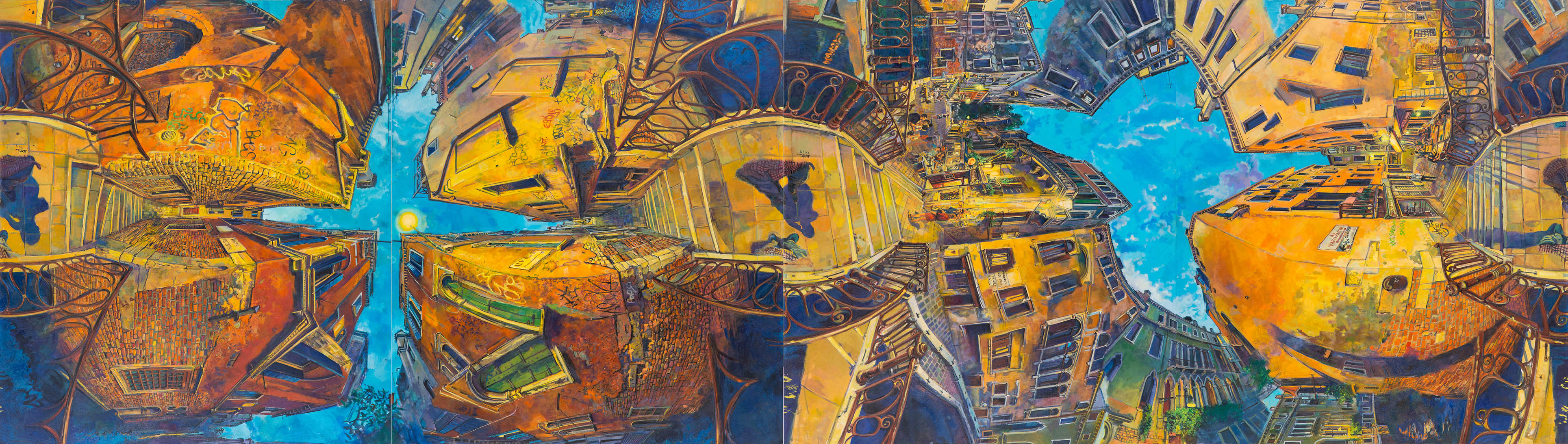 Dancing with Shadows 1&2 ,oil on canvas, 190 x 680cm (quadriptych),2018 -1