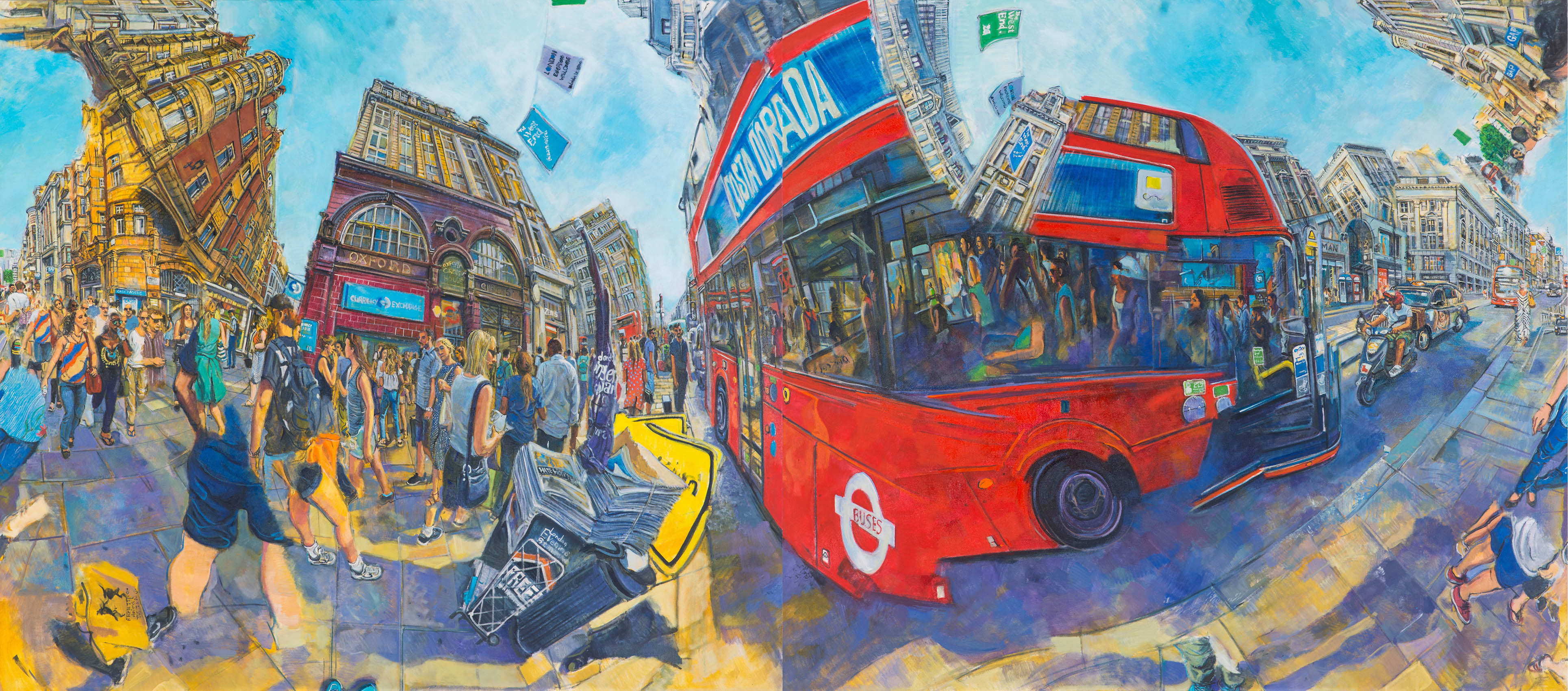 Red buses, Oil on canvas, 170 x 380cm (Diptych), 2018-1