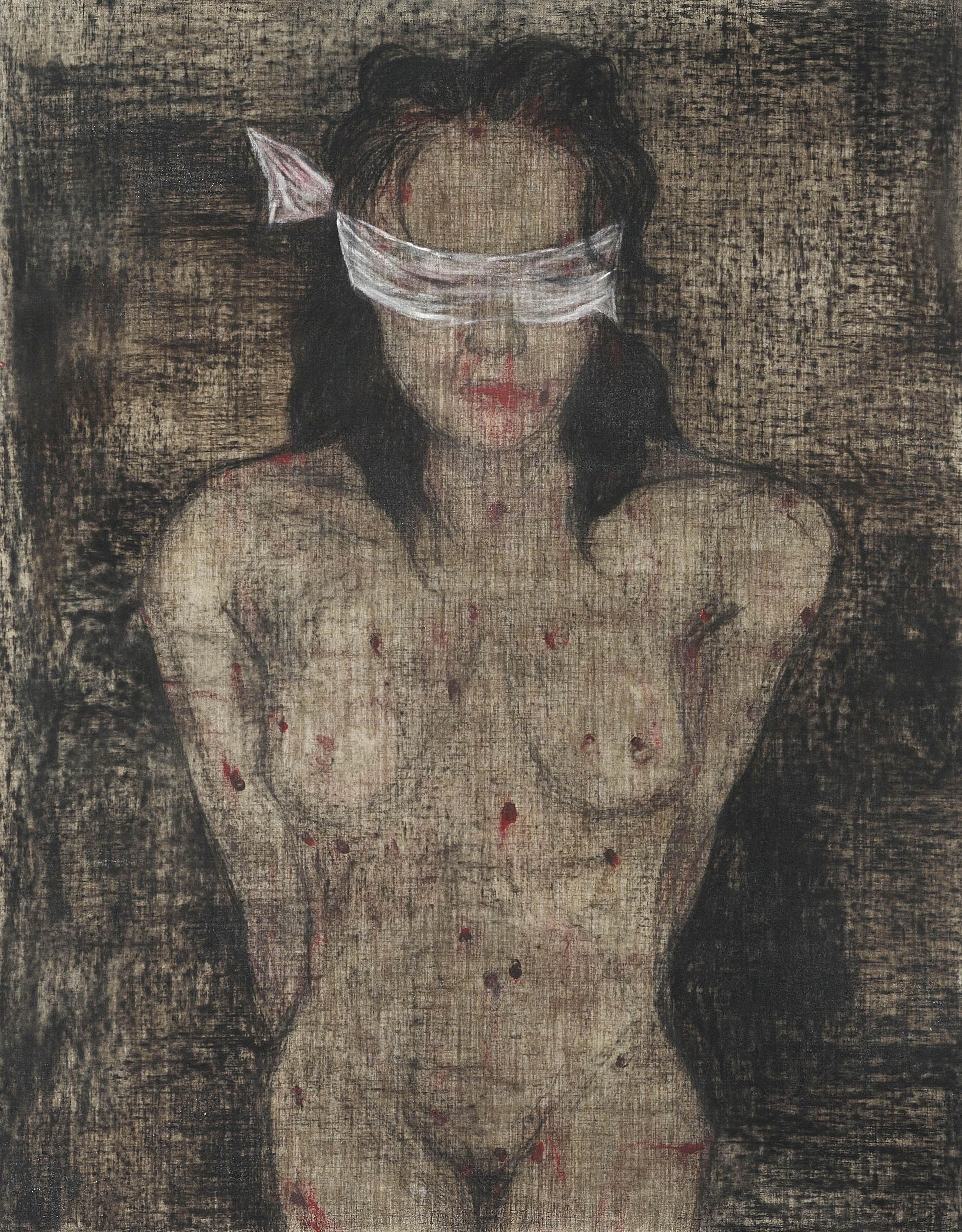 Ciduk, Siksa, Bunuh, Buang II (2018) Acrylic and charcoal on canvas; 162cm x 127cm