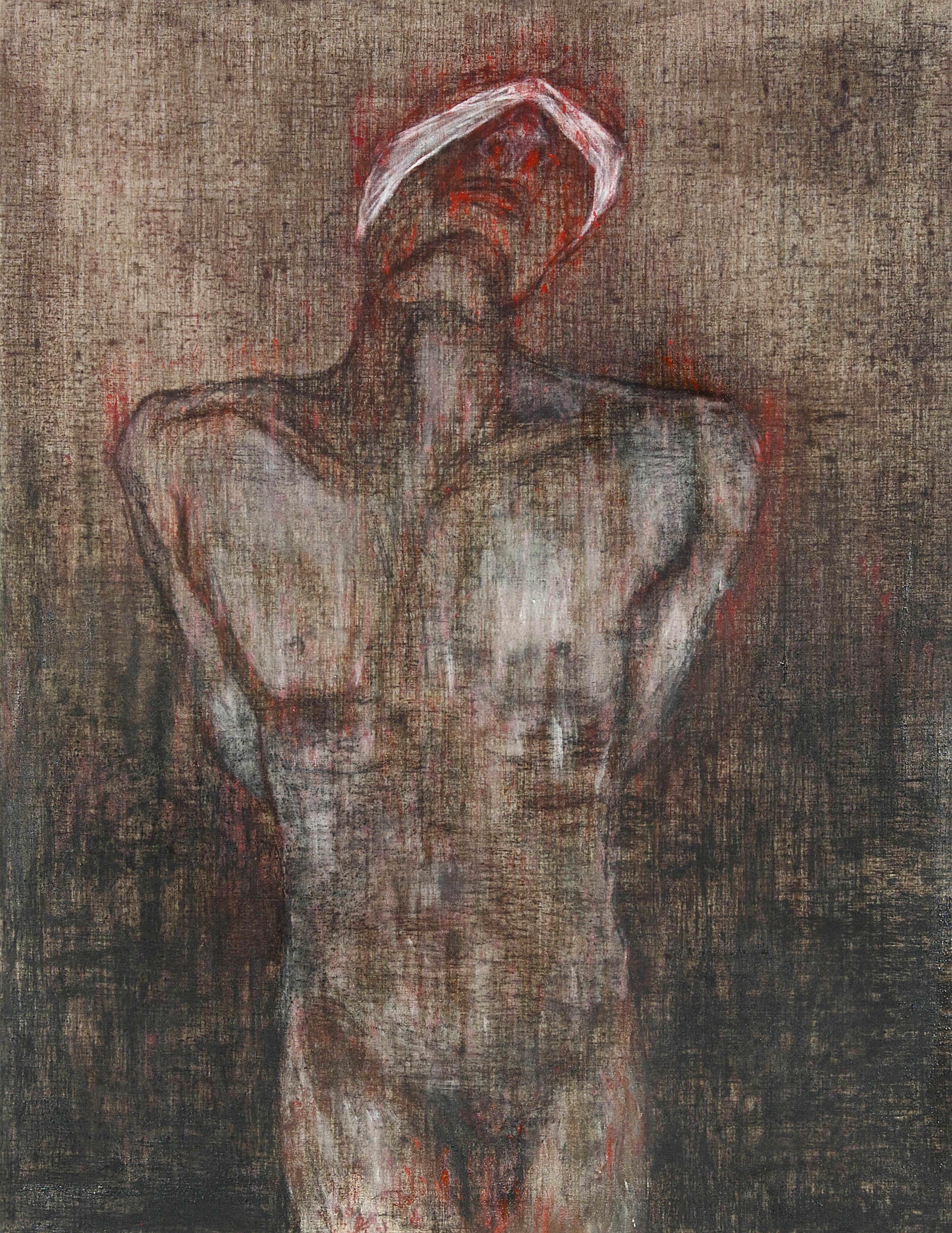 Ciduk, Siksa, Bunuh, Buang III (2018) Acrylic and charcoal on canvas; 162cm x 127cm