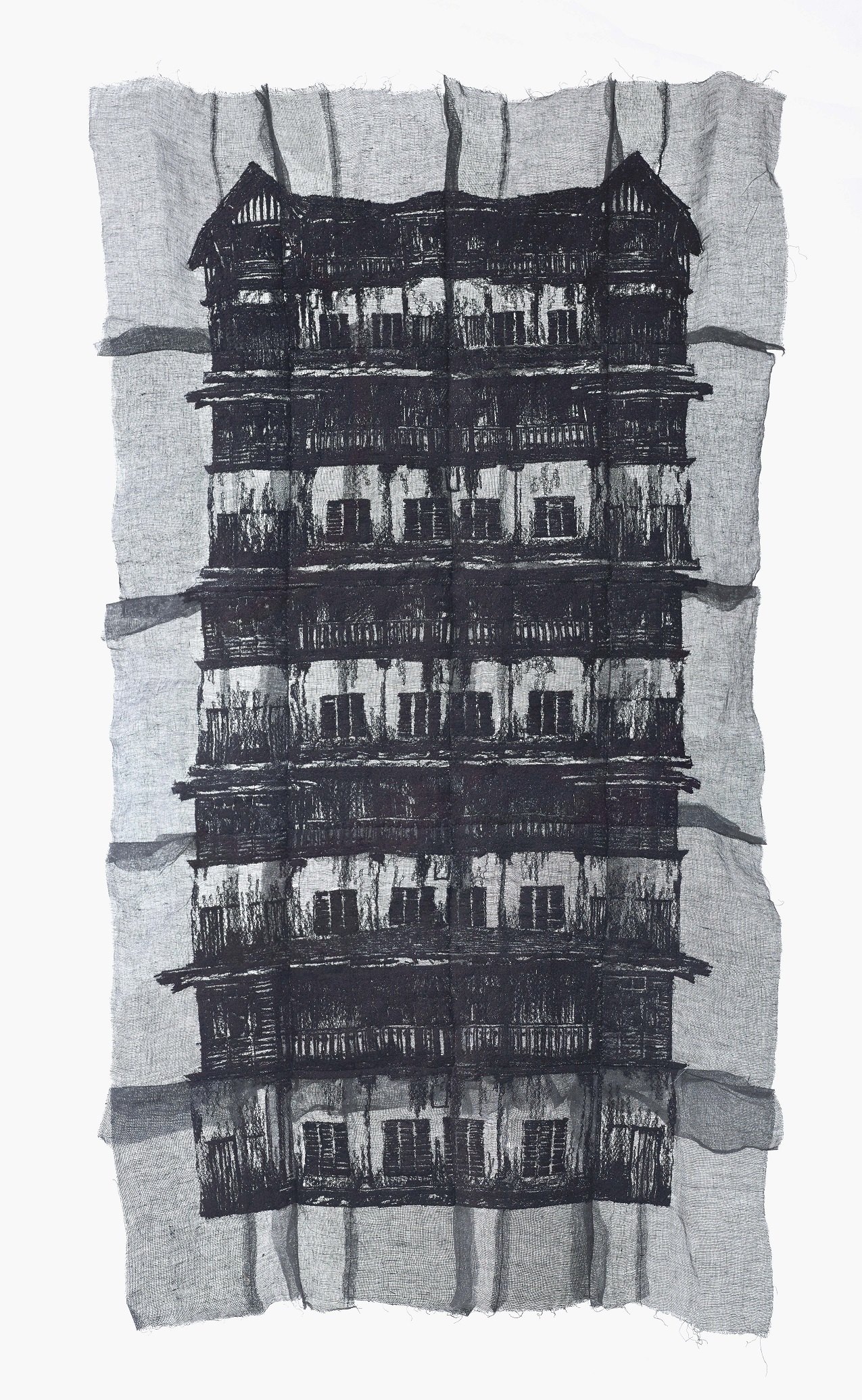 Yim Yen Sum - The Faded Memories (2017) Embroidery on gauze, gauze dyed in acrylic; 128cm(H) x 72cm(W)