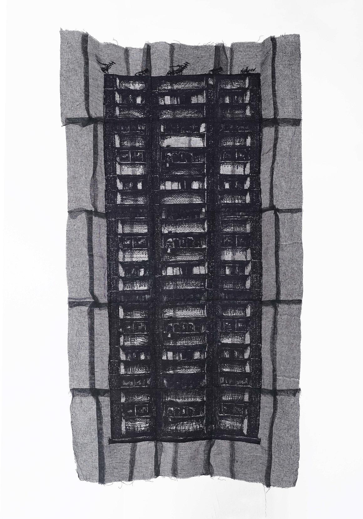 Yim Yen Sum - The Faded Memories II (2018) Embroidery on gauze, gauze dyed in acrylic; 128cm(H) x 69cm(W)