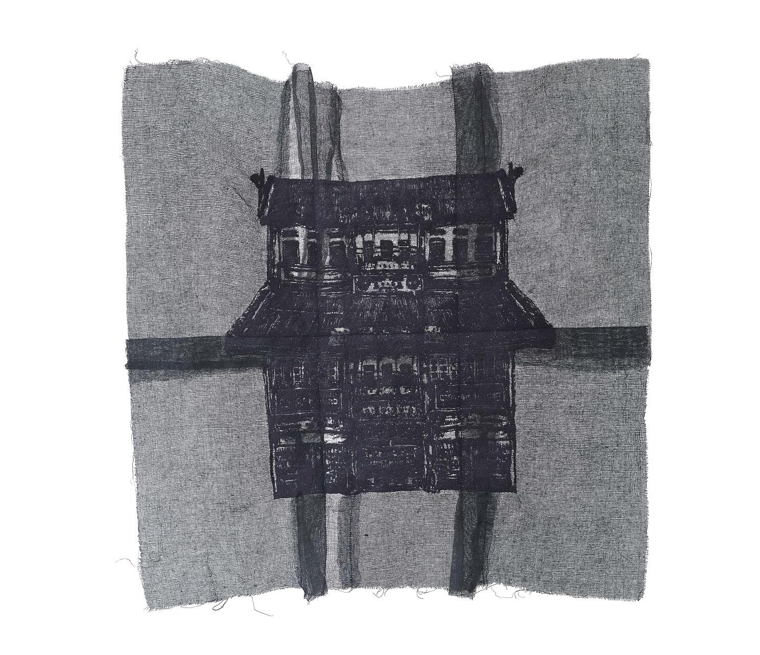 Yim Yen Sum - We Share The Same Ground III (2018) Embroidery on gauze, gauze dyed in acrylic; 58cm(H) x 58cm(W)