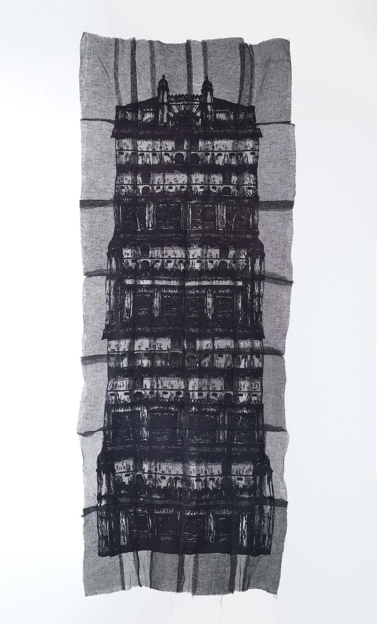 Yim Yen Sum - Whisper Silhouette II (2018) Embroidery on gauze, gauze dyed in acrylic; 184cm(H) x 75cm(W)