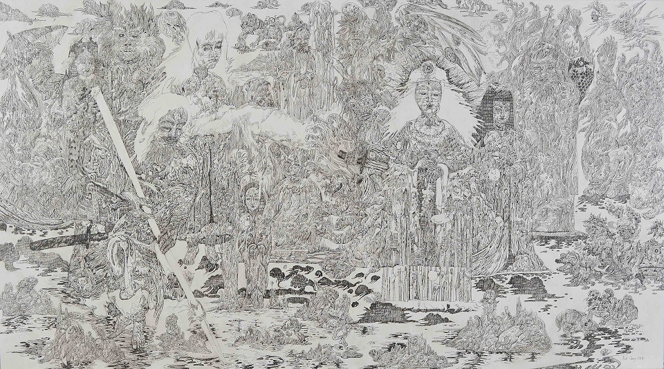 Cheong Kiet Cheng - The Origin of Gods (2019), Ink of canvas, 155cm x 86cm