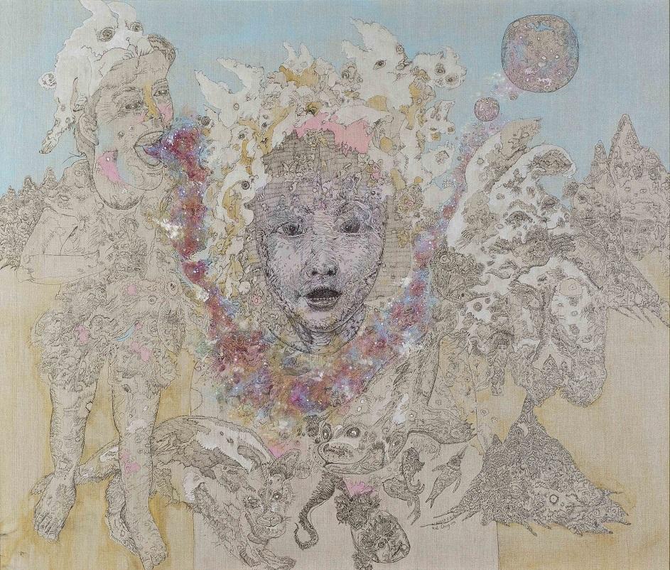 Cheong Kiet Cheng - Train to the Neptune (2019),Mixed media on canvas, 140cm x 158cm