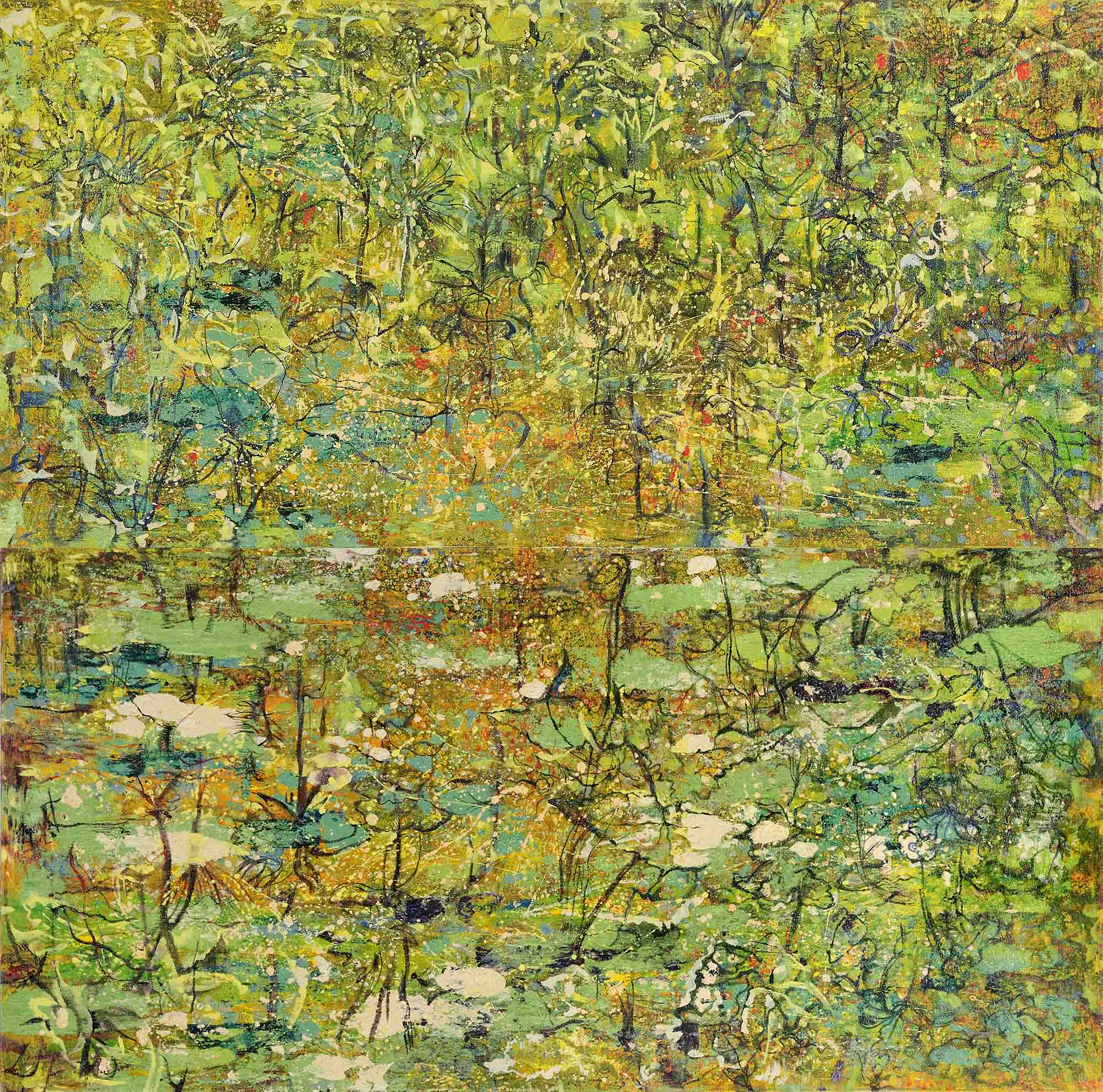Yau Bee Ling - Living Pond (2019) Combined Oil and sand medium on canvas; 153cm x 306cm (Diptych) bottom