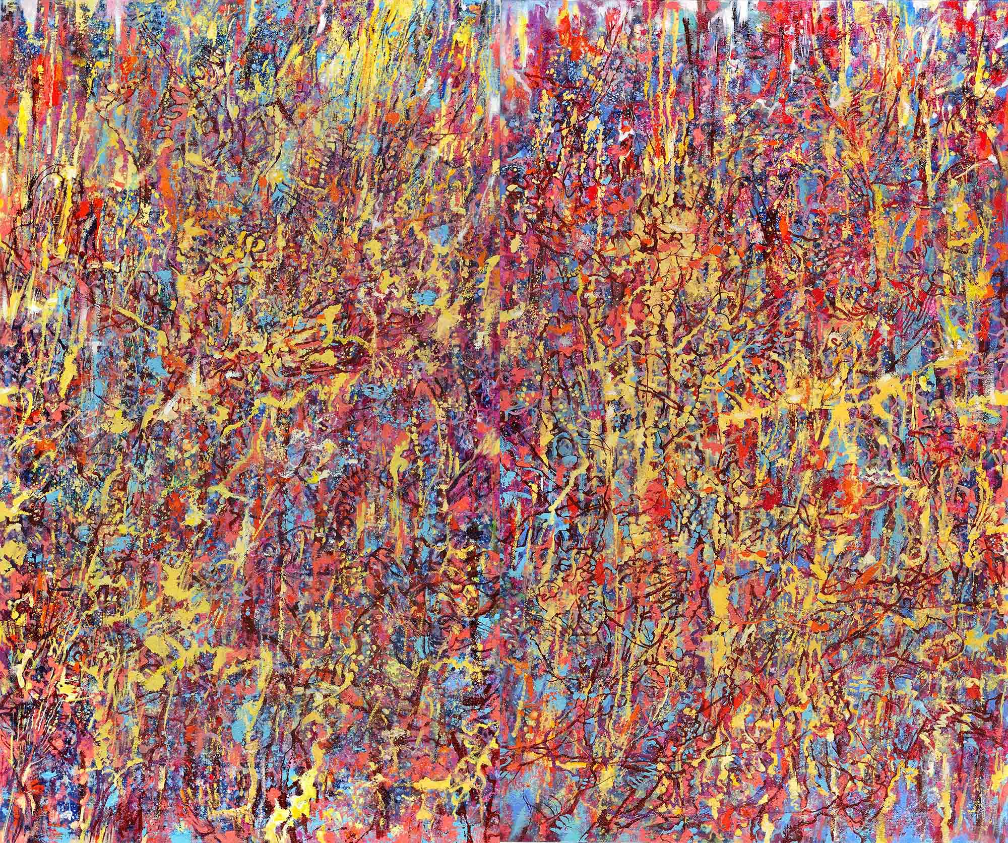 Yau Bee Ling - New Blossom (2019) Combined Oil and sand medium on canvas; 152cm x 183cm (Diptych) right