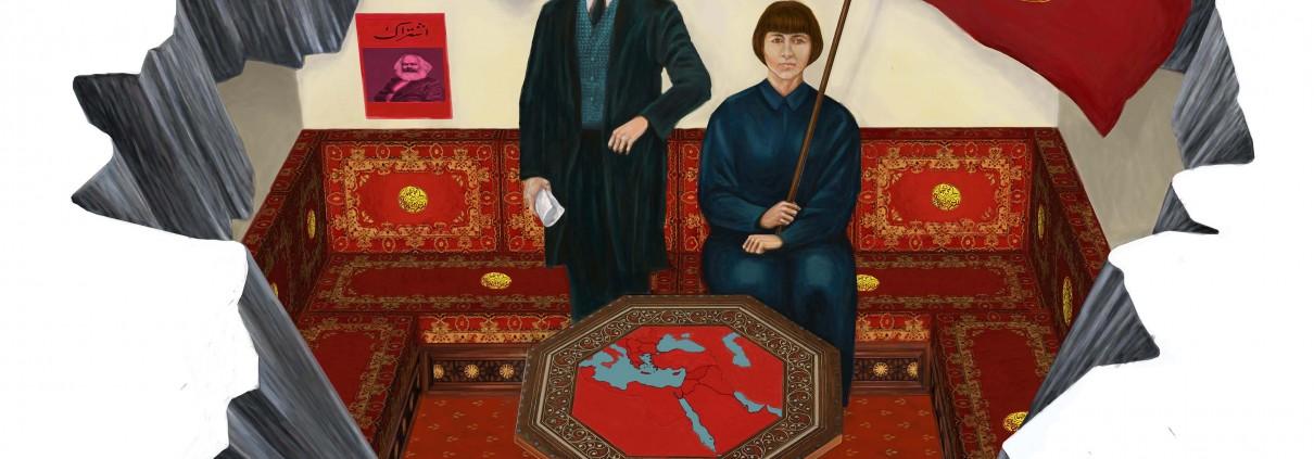 Ahmet Öğüt - History Otherwise: Ottoman Socialist Hilmi and Ottoman Women's Rights Defender Nuriye (2019)   Anamorphic painting transferred on carpet; 6.3m x 3m; Ed. 1/5 + 2AP