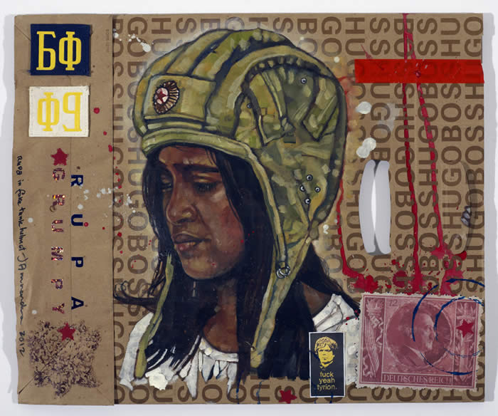 Anurendra Jegadeva - ALL I GOT FROM BERLIN… (2012) Oil on medium-sized Boss shopping-bag in acrylic box; 46cm x 40cm