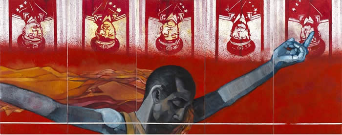Anurendra Jegadeva - The Red Landscape (2007) Oil on canvas; 52cm x 26cm each (5 panels)