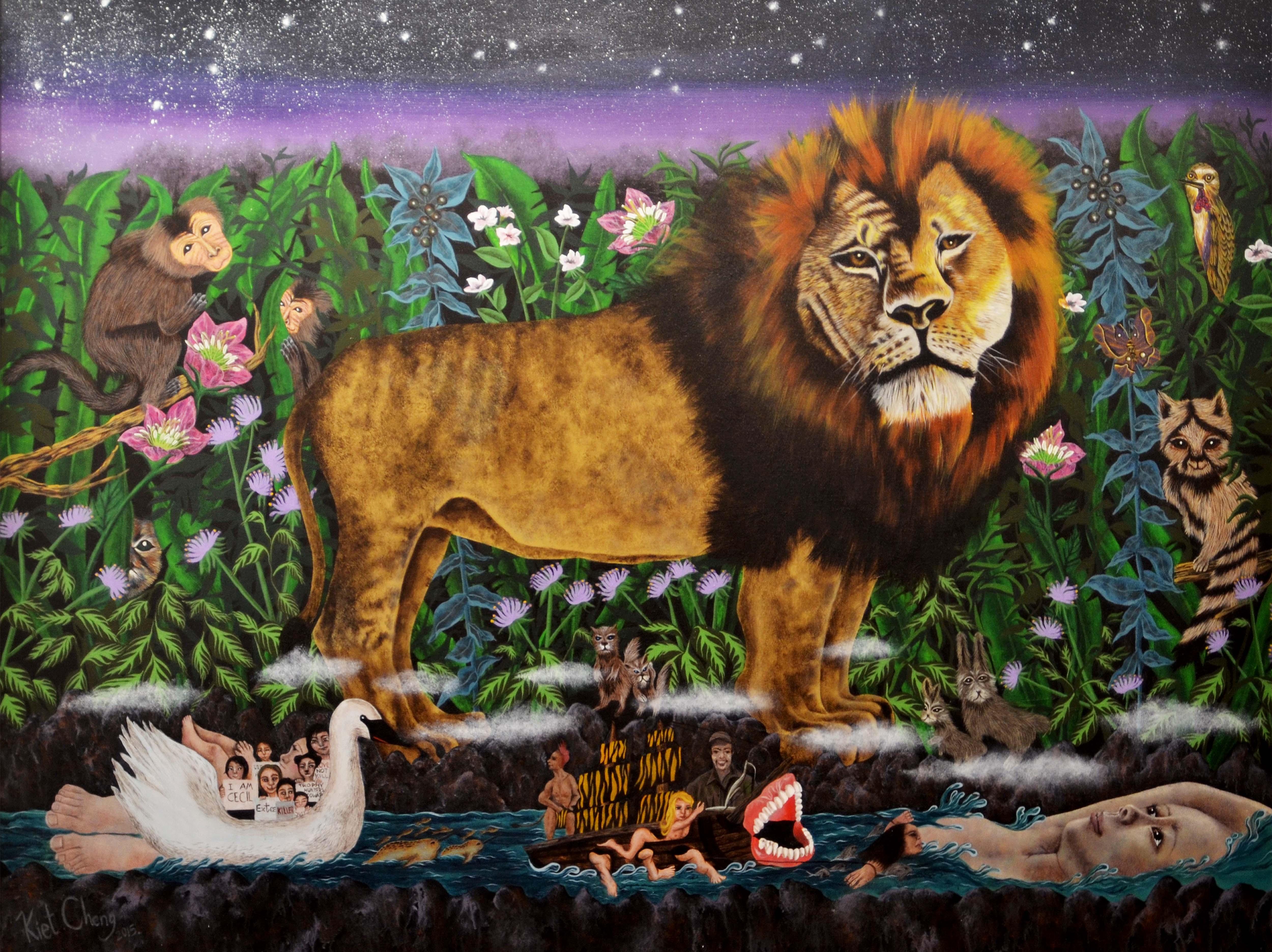 Cecil the Lion, Acrylic on canvas, 128 x 170cm,2016