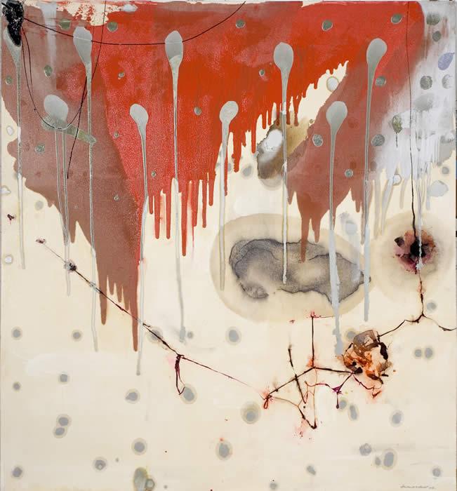 Interruption (2006) Industrial paint & paint collaged on unprimed canvas; 176.5cm x 190cm
