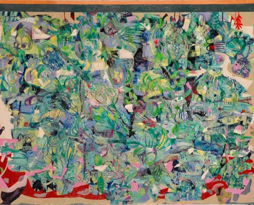 Packed, stacked within the kitchen (2006) Oil on canvas; 183cm x 138cm