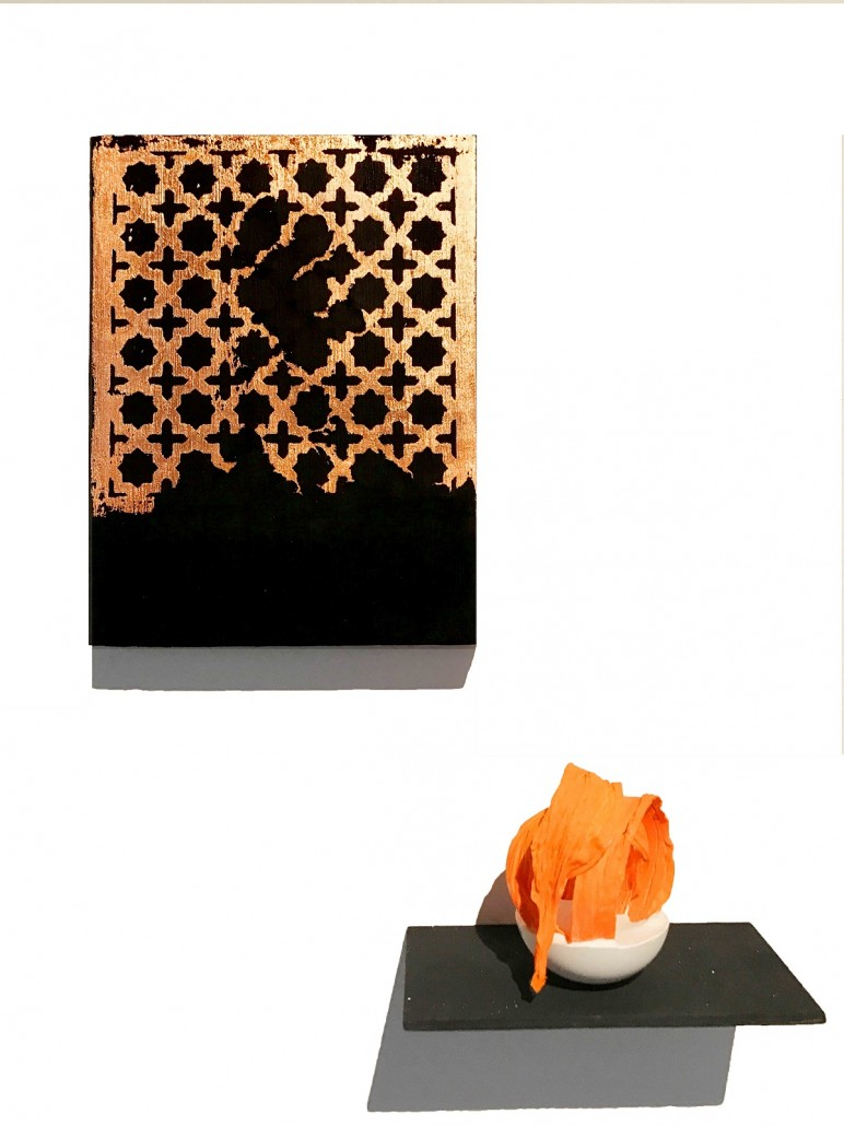 Rajinder-Singh-Untitled-Jali-2019-Acrylic-on-hardboard-with-shelf-and-jesmonite-and-fabric-in-resin-structure-20-772x1030