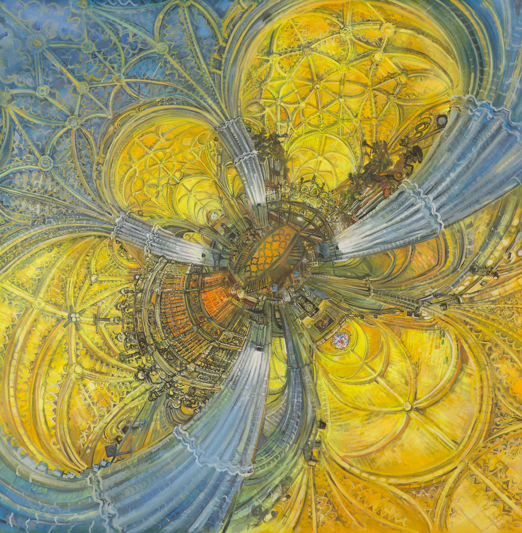 The Flower, Acrylic on paper, 144cm x 145.4cm, 2015