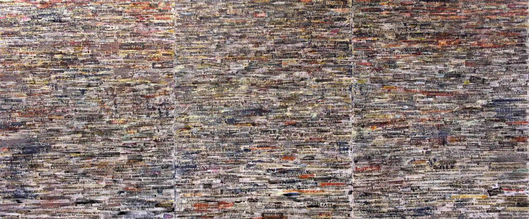 The Unknown Landscape The Fleeting News (2015) Mixed media on canvas; 153cm x 366cm (Triptych)