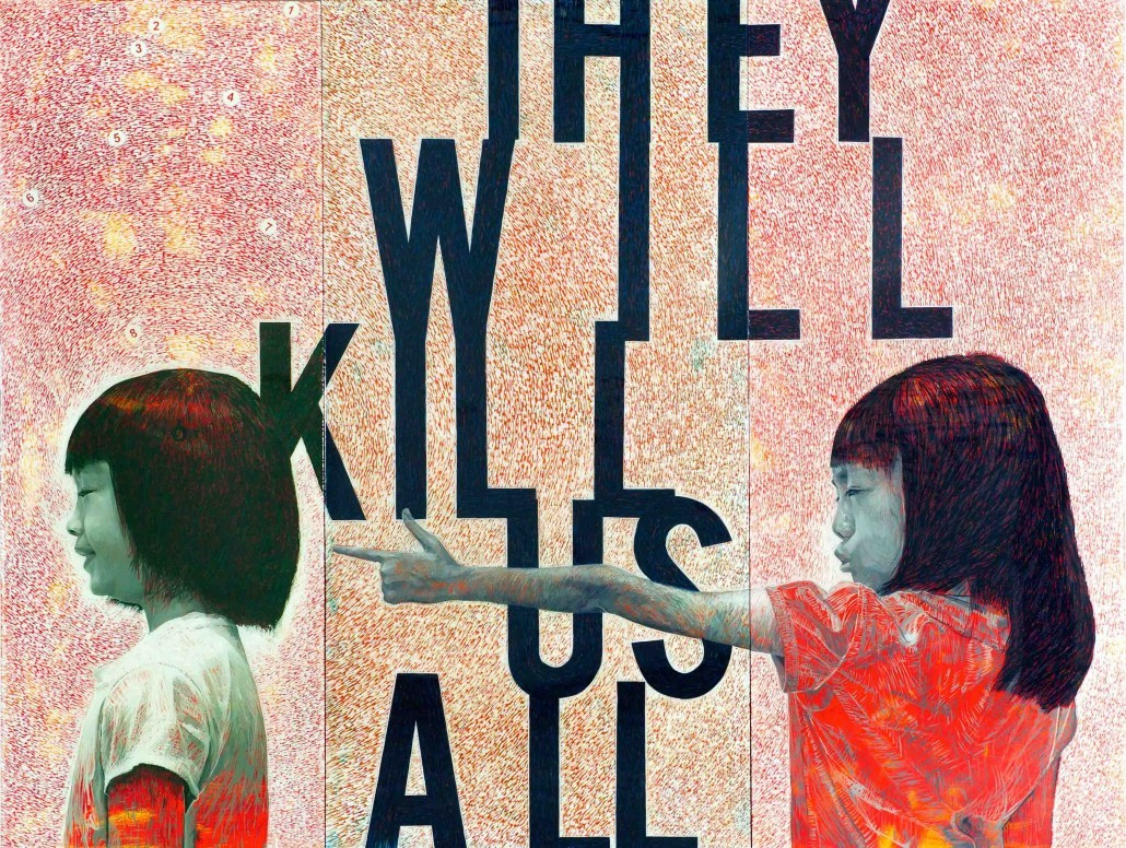 They-will-kill-us-all-Synthetic-house-paint-and-resin-on-canvas-on-board-240-x-315cm-Triptych-2015-1030x776