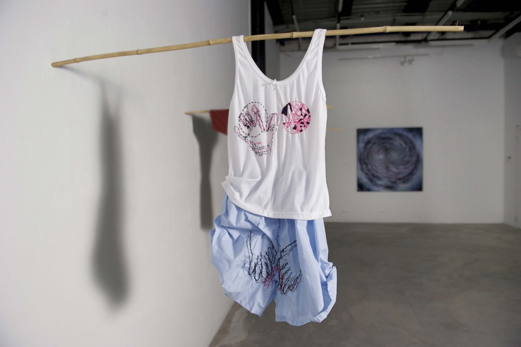 Untitled - installation view (2014) Stitching on clothes , singlet, short; Dimension variable