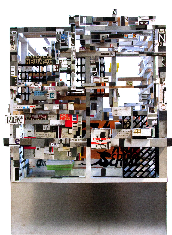 choy chun wei - shopping ghettos, acrylic medium, oil . collage on wood on stainless steel base, 53 x 47 x 48cm, 2010