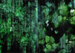 Hamidi Hadi - Mandi Hutan (Forest Bathing) (2020) | Chinese Ink and acrylic on canvas; 173cm X 290.5cm (Diptych)
