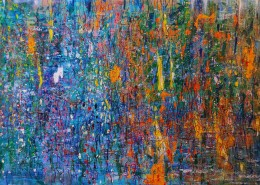 Yau Bee Ling - Seeking out the lost serenity (2021) | Oil paint on jute canvas; 152.5cm x 213cm